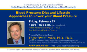 Blood Pressure: Diet and Lifestyle Approaches to Lower you Blood Pressure @ Miller Research Building G01 - G03 | Baltimore | Maryland | United States